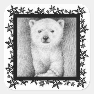 Polar Bear Cub Xmas Snowflake Sticker