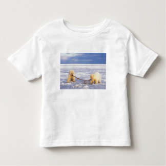 Polar bear cubs and meat on pack ice of frozen toddler t-shirt