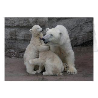 Polar Bear Cubs And Mother Greeting Card