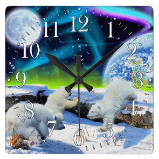 Polar Bear Cubs & Aurora Earth Day Clock