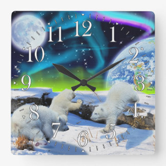 Polar Bear Cubs & Aurora Earth Day Clock