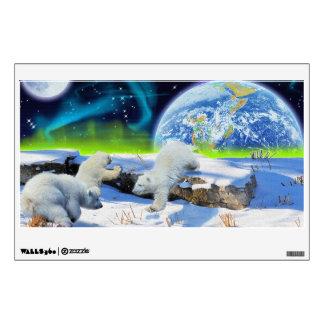 Polar Bear Cubs & Aurora Earth Day Fantasy Poster Wall Sticker
