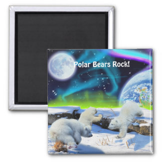 Polar Bear Cubs & Aurora Wildlife Art Magnet