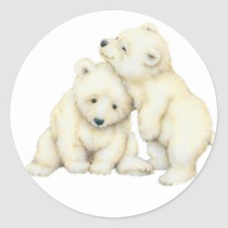 Polar Bear Cubs Classic Round Sticker