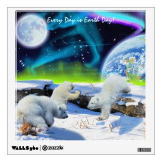 Polar Bear Cubs Earth Day Fantasy Art Decal