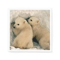 Polar Bear Cubs in the Snow Napkin