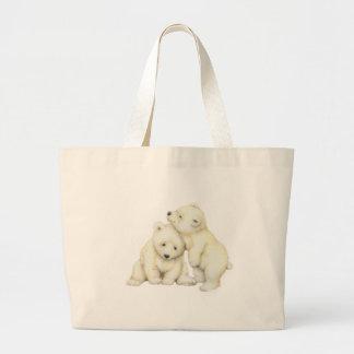 Polar Bear Cubs Large Tote Bag