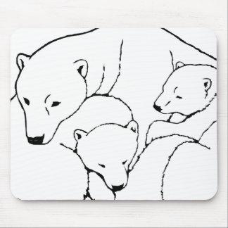Polar Bear & Cubs Mousepad Twin Bears Art Mousepad