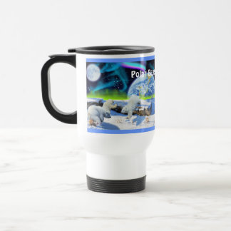 Polar Bear Cubs & Northern Lights Art Mug