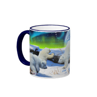 Polar Bear Cubs Playing in Snow Fantasy Art Mug