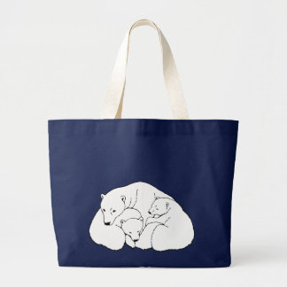Polar Bear & Cubs Tote Bag Wildlife Art Tote Bag