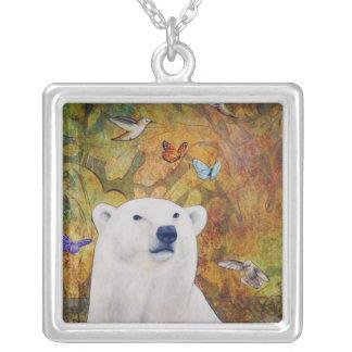 Polar Bear Dream Square Pendant Necklace