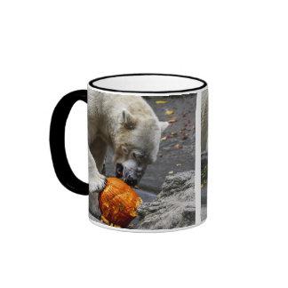Polar Bear Eating a Pumpkin Ringer Coffee Mug
