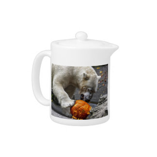 Polar Bear Eating a Pumpkin Teapot