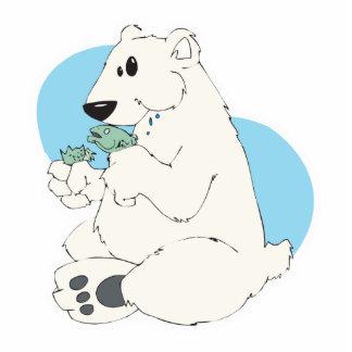 polar bear eating fish cut out