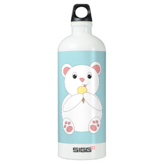Polar Bear Eating Ice Cream Aluminum Water Bottle