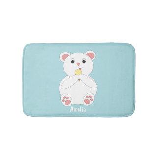 Polar Bear Eating Ice Cream Customizable Bathroom Mat