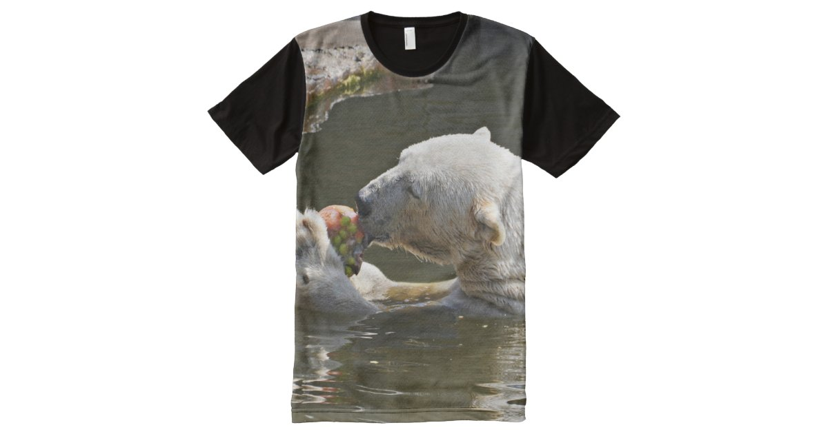 0d1b4aa67c9a7 Polar Bear Eating In Water All-Over-Print T-Shirt   Zazzle.com