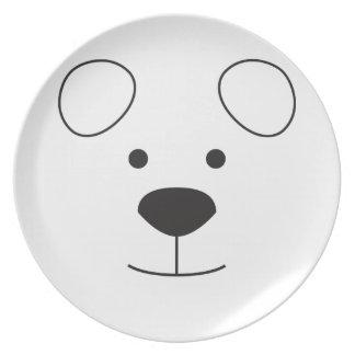 Polar Bear Face Dinner Plates