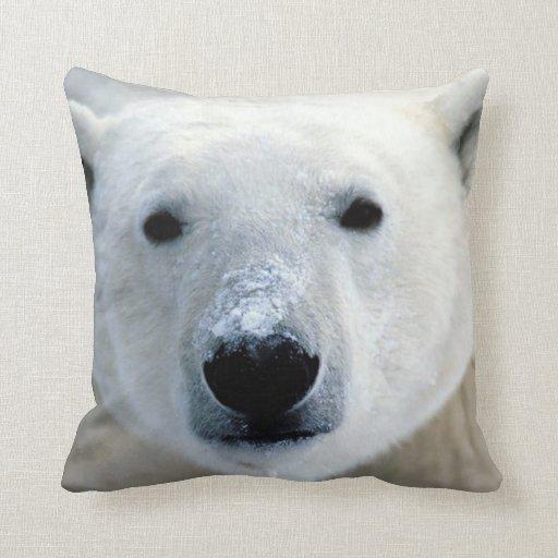 Polar Bear Face Throw Pillows