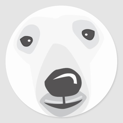 Polar Bear Face Round Stickers