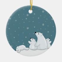 Polar Bear Family Ceramic Ornament