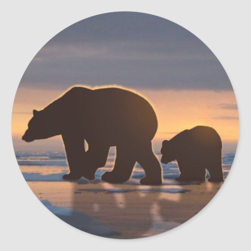 Polar Bear family Classic Round Sticker