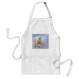 polar bear family on ice adult apron