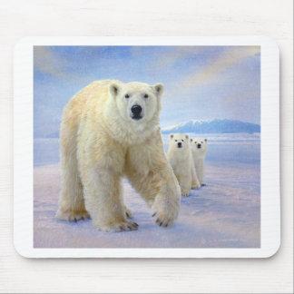 polar bear family on ice mousepads