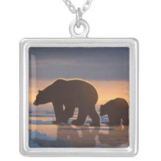 Polar Bear Family Silver Plated Necklace