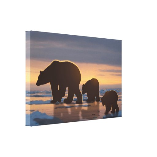 Polar Bear Family Stretched Canvas Print