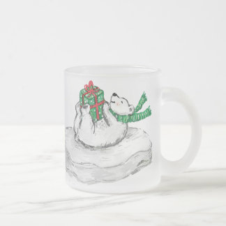 Polar Bear Frosted Mug! Frosted Glass Coffee Mug
