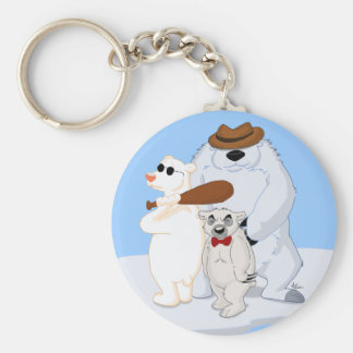 Polar Bear Gang on Ice Keychain