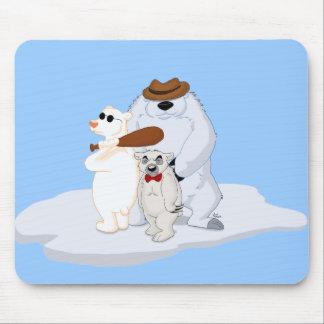 Polar Bear Gang on Ice Mousepad