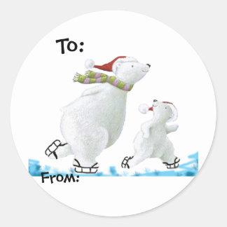 Polar Bear gift tags Classic Round Sticker