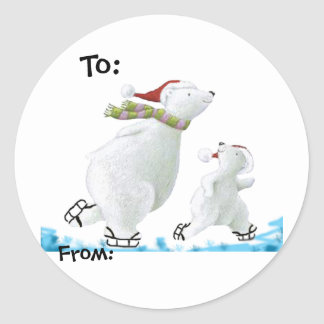 Polar Bear gift tags Classic Round Sticker