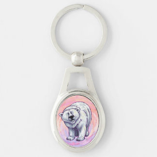 Polar Bear Gifts & Accessories Silver-Colored Oval Metal Keychain