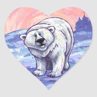 Polar Bear Gifts & Accessories Heart Stickers