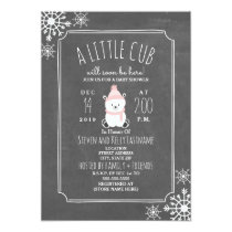 Polar Bear Girl Winter Pink Baby Shower Card