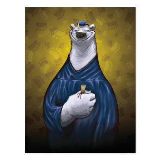 Polar Bear Graduation Post Card Blue