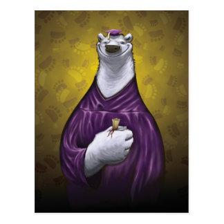 Polar Bear Graduation Post Card Purple