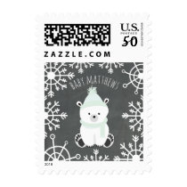 Polar Bear Green Winter Baby Shower Postage