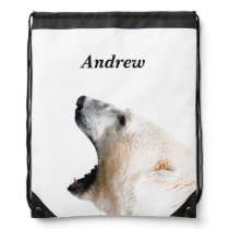 Polar bear growl drawstring backpack