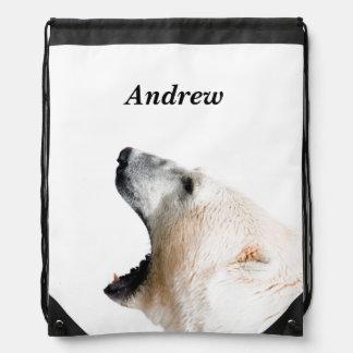 Polar bear growl drawstring backpack