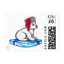 Polar Bear Hat Animals Cute Floating Ice Stamp
