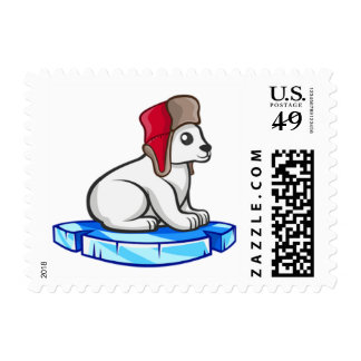 Polar Bear Hat Animals Cute Floating Ice Stamp