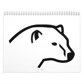 Polar bear head calendar