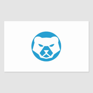 Polar Bear Head Circle Retro Rectangular Sticker