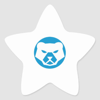 Polar Bear Head Circle Retro Star Sticker