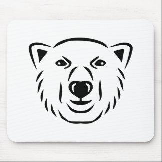Polar bear head face mouse pad
